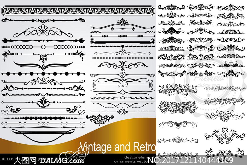 多款分隔线与花纹装饰元素矢量素材