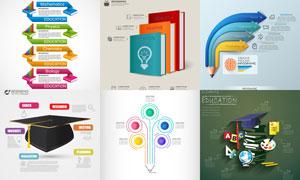 书籍铅笔等元素信息图创意矢量素材