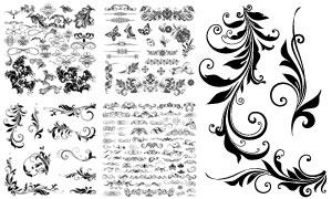 黑白效果花纹装饰元素创意矢量素材