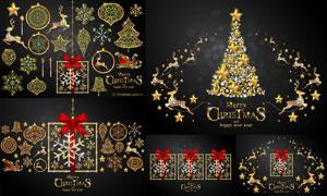 蝴蝶结与金色的圣诞节元素矢量素材