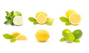 绿叶与切开的柠檬特写摄影高清图片
