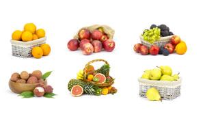 橙子苹果与荔枝等水果摄影高清图片