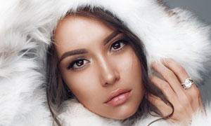 皮草冬装打扮美女人物摄影高清图片