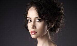 性感露肩盘发美女人物摄影高清图片