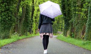 公园路上撑着伞的美女背影高清图片