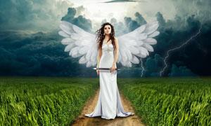 在田间手中执剑的天使创意高清图片