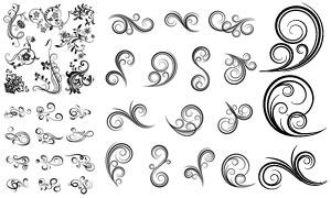 黑白效果藤蔓花纹装饰图案矢量素材