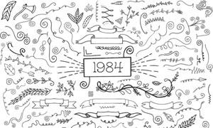 手绘线条与飘带等装饰创意矢量素材