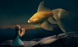 仰视金鱼的美女合成PS教程素材