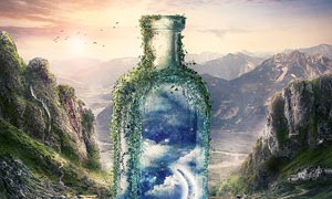 山谷中创意的瓶子合成PS教程素材