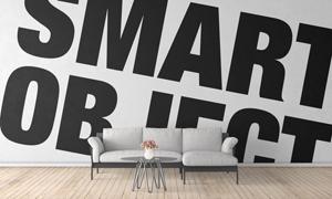 沙发背景墙效果图设计智能贴图模板
