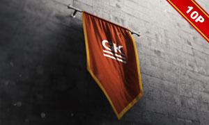 挂在墙壁上的旗帜应用效果贴图模板
