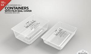 透明的薄膜密封包装盒设计贴图模板