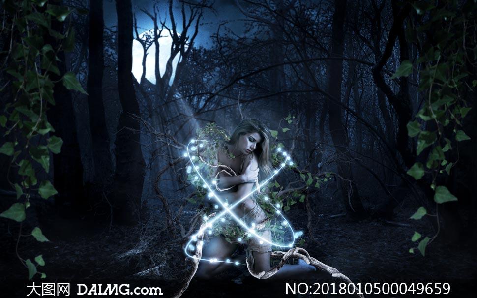 森林中被困住的女孩场景PS教程素材