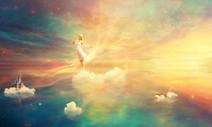 空中仙境中的美丽仙子PS教程素材