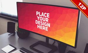 曲面显示器屏幕内容贴图模板源文件