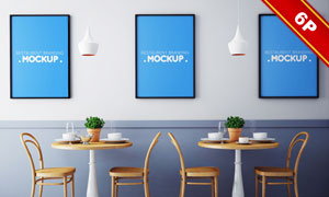 餐厅墙上的装饰画应用效果贴图模板