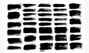 黑白效果墨迹笔触元素矢量美高梅娱乐V01