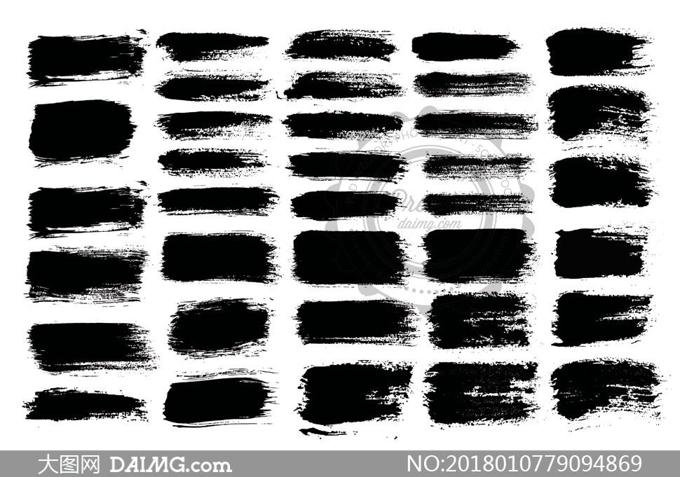 黑白效果墨迹笔触元素矢量素材v02         多款逼真效果云朵