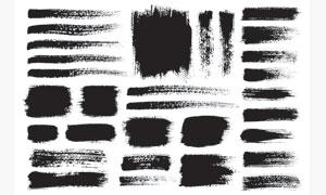 黑白效果墨迹笔触元素矢量美高梅娱乐V03
