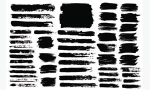 黑白效果墨迹笔触元素矢量美高梅娱乐V04
