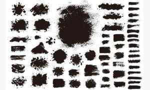 黑白效果墨迹笔触元素矢量美高梅娱乐V05