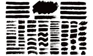 黑白效果墨迹笔触元素矢量美高梅娱乐V07