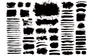 黑白效果墨迹笔触元素矢量美高梅娱乐V08
