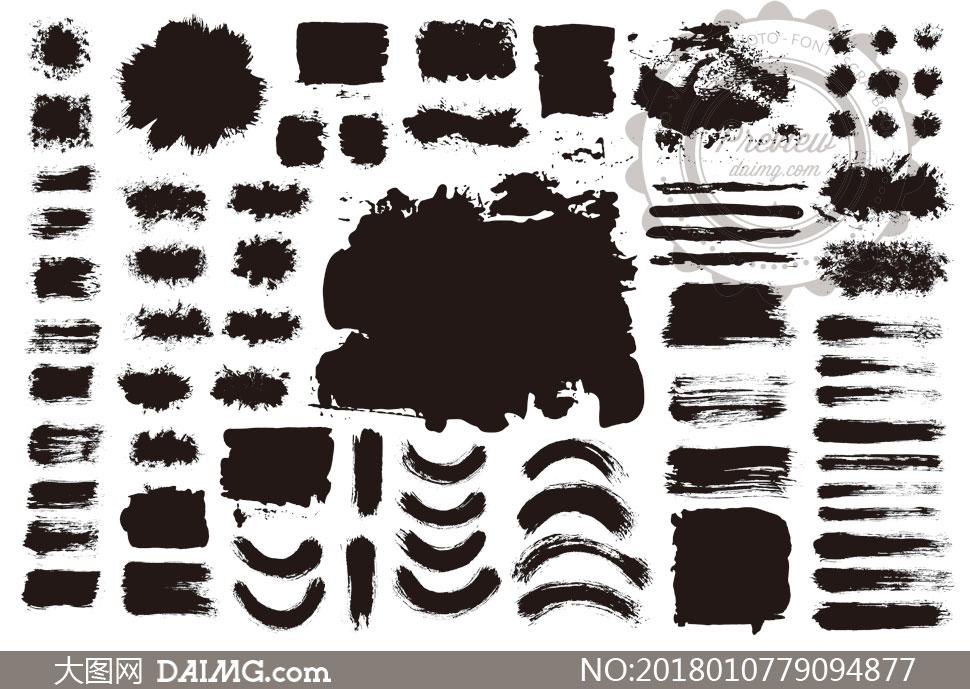 黑白效果墨迹笔触元素矢量素材V09