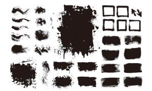 黑白效果墨迹笔触元素矢量美高梅娱乐V11