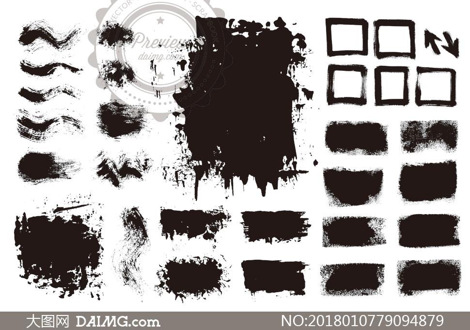 黑白效果墨迹笔触元素矢量素材V11