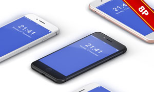 四色可选iPhone8效果展示贴图模板