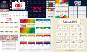 圣诞与几何元素的2018日历矢量素材