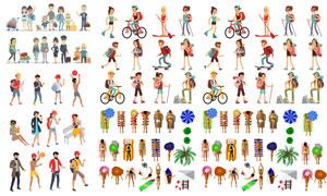 旅游运动与休闲等场景人物矢量素材