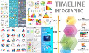 炫彩缤纷数据统计图表创意矢量素材