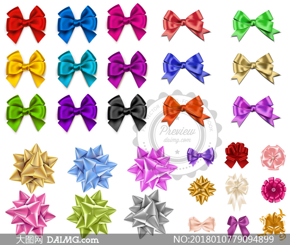 色彩鲜艳的质感蝴蝶结创意矢量素材