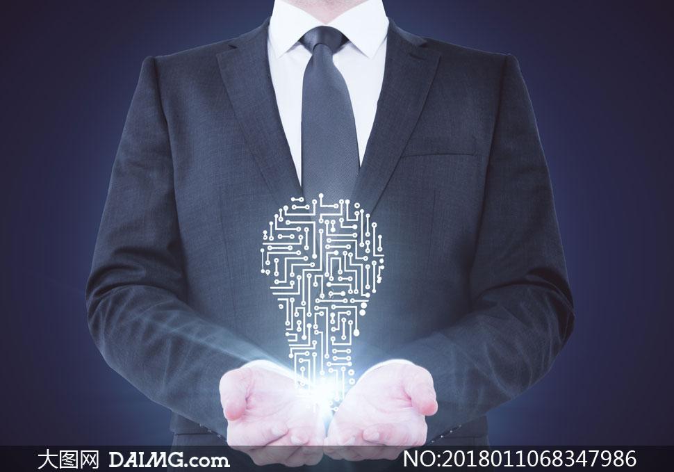 做捧着手势的人物电子科技创意图片