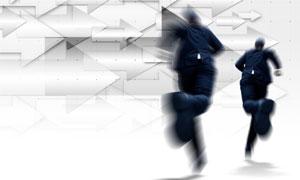 箭头与奔跑的职场人物创意高清图片