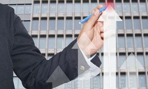 人物手势与向上的箭头创意高清图片