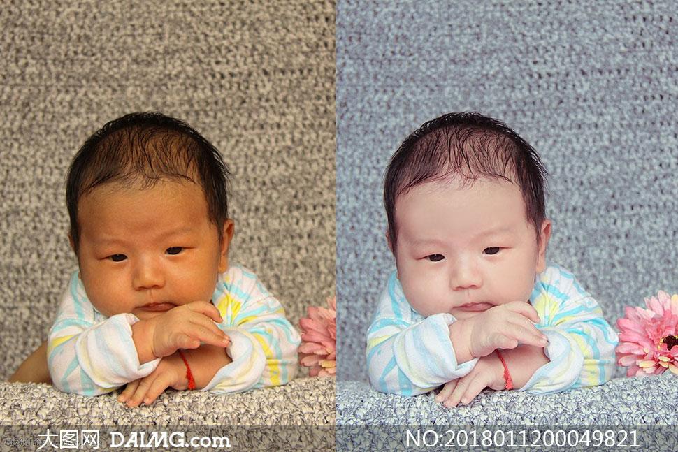 新生儿蓝色通透艺术效果PS教程素材