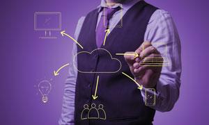 云计算元素与职场人物创意高清图片