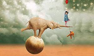 动物平衡主题海报设计PSD教程素材