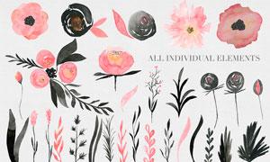 水彩花朵和藤蔓PS笔刷