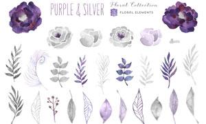 26款紫色花朵和叶子PS笔刷