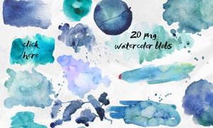 23款水彩喷溅和涂抹背景PS笔刷