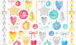 圣诞节装饰彩球和心形PS笔刷