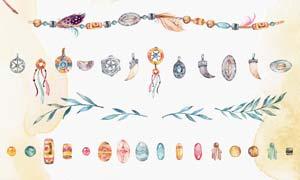 水彩风格图腾项链PS笔刷