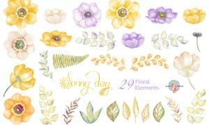 水彩花朵和手绘藤叶PS笔刷