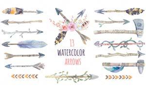 13款水彩羽箭和斧头PS笔刷