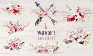 水彩花朵和羽毛装饰PS笔刷